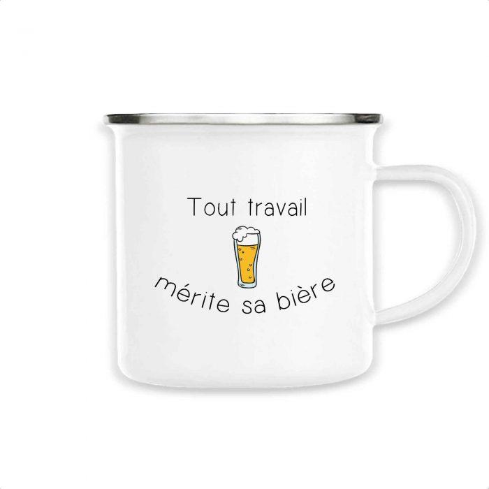 Mug émaillé - Tout travail mérite sa bière
