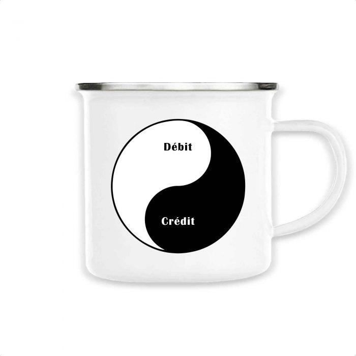 Mug émaillé - Débit Crédit Yin Yang